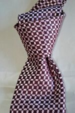 "$250 NWT TOM FORD Pink w/ Burgundy cross check 3.75"" men's woven silk tie Italy"