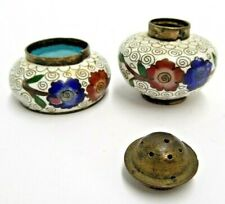 Chinese Cloisonne Small Shaker And Bowl Set Made In China Flowers Round Lot Of 2