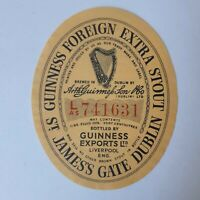 Beer Label Guinness Extra Stout Liverpool England Numbered Unused Vintage 1963