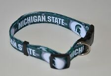 "MICHIGAN STATE SPARTANS Med TWO 2 Std dog adjustable pet COLLARS 3/4"" wide New"