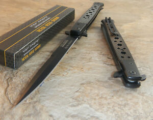 TAC FORCE BLACK Spring Assisted Open EXTRA LARGE Folding Pocket Knife!!