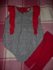 Spanish Romany Baby Girl Tartan Romper c/w Red Wool Tights/ 100% Cotton/ 18-24