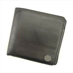 Chanel Wallet Purse Bifold Coco Button Black leather Woman Authentic Used T9062