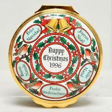 Bilston & Battersea Halcyon Days 1996 Christmas Enamel Trinket Box, W/Coa