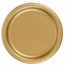 "24 Plates 6 7/8"" Paper Dessert Plates Wax Coated - Gold"