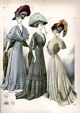 Edwardian early 1900 ladies dress and hat fashion art print 10 x 8