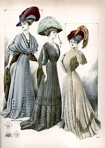 Edwardian early 1900 ladies dress and hat fashion art print 10 x 8