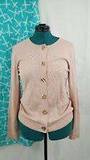 Women's Cardigan Sweater Calvin Klein Rose Pink Gold Closure Medium Long Sleeve