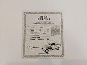Danbury Mint 1929 Dodge Pickup Registration Cert + Use Care Instructions
