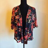 Almost Famous Black and Red Rose Floral Print Open Kimono Size Large