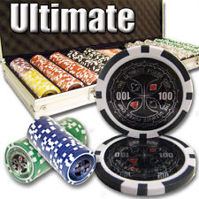 NEW 500 Piece Ultimate 14 Gram Clay Poker Chips Set with Aluminum Case Custom