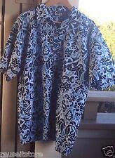 Vintage Liquid Hawaiian Shirt Aloha Wear Beach Camp Blue Floral Print Mens Large