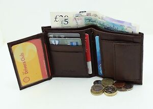 GENTS RFID SAFE QUALITY SOFT LEATHER WALLET, CREDIT CARD COIN HOLDER 48 BROWN