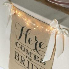 """Here Comes The Bride"" Burlap Bunting Banner Sign Rustic Wedding Party Decor"