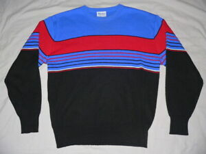 80s Sweater Ski Sweater Floral Stripe Winter Sweater Fall Black Multicolor Pullover Size Large Womens 1980s Vintage Womens Clothing Unique