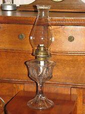 """Antique Clear Glass Pedestal Venus Miller Burner Oil Lamp Bead Top Chimney 18"""""""