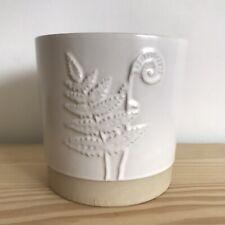 Ceramic Planter Plant Pot Fern Leaf Frond Pottery Boho White Scandi