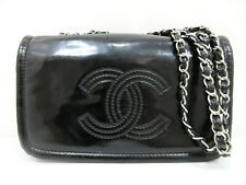 Authentic CHANEL Coco Mark Chain Shoulder Bag Black Enamel Leather 73884