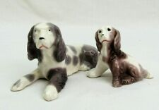 2 Dog Figurines spaniel pair mom and pup Japan