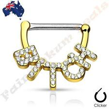 316L Surgical Steel Gold Ion Plated Nipple Bar Clicker Crystal Paved BITCH