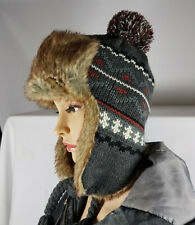 MEN WOMEN KNITTED FAUX FUR TRAPPER LINED SKI WINTER EAR FLAP BOBBLE HAT Nov13-5