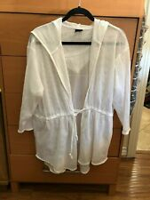 Dotti Swimsuit Cover Up One Size Tunic Hoodie White Tie Waist