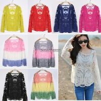 Semi Women Sheer Sleeve Embroidery Floral Lace Crochet Tee T-Shirt Top ED