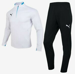 Puma Men KK Knit 3 Training Suit Set White Running Jacket Pants Jersey 92928003