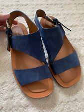 Celine Denim Blue Suede Sandals With Buckle Detail Size 40