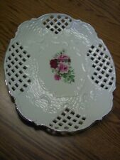 "Formalities Baum Bros Ivory Victorian Rose 12"" Deco China Platter/Gold Trim"