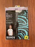 Bonds Baby Blue Black Zebra Stripes Short Sleeve Zip Wondersuit Size 2 BNIP