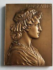 Plaque médaille bronze femme lorraine art nouveau croix  G  PRUDHOMME  奖章+++++