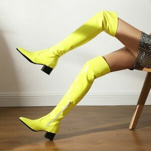 Womens Patent Leather Over Knee Boots Shoe Pointy Toe Block Heel Knee High Boots