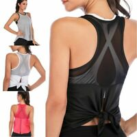 Women's Yoga Workout Mesh Shirts Activewear Sexy Open Back Sports Tank Tops Vest