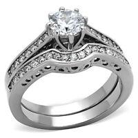 Stainless Steel Round Cut CZ Wedding Ring Set Women Bridal Size 5-10