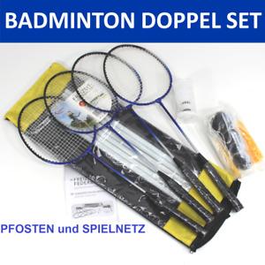 BADMINTON Set DOPPEL + Netz mit Pfosten + 4 Schläger + 2 Federball komplett 0335