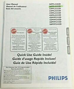 USER MANUAL for Philips 26PFL5322D Digital Widescreen Flat LCD TV 32 37 42 50