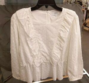 Brand NEW! Sz XL Textile Elizabeth and James White 100% Cotton Eyelet Blouse/Top