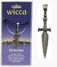 """WICCA """"DIRECTION"""" ATHAME DAGGER AMULET PENDANT - STORY CARD +CORD"""