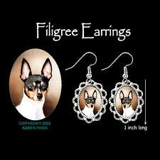 Toy Fox Terrier Dog - Silver Filigree Earrings Jewelry