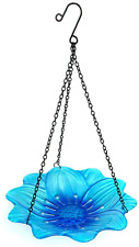 New listing Liffy Hanging Bird Bath Outdoor Glass Bowl Feeder Blue for Garden, Yard and Pati