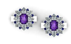 Amethyst And Sapphire Cuff link Natural CZ Fine Gemstone In 925 Sterling Silver