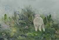 Sheep painting watercolour lamb original farm animal surreal toadstools
