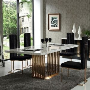 Dinning Room Marble Table with Gold Tone Iron Base