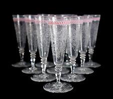 Set of 10 Venetian? Latticino Art Glass Flared Intaglio Wine Goblets 19th cent?