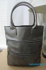 Lancome Double Zip Gunmetal North South Tote Bag