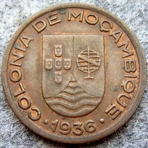 MOZAMBIQUE PORTUGESE COLONIAL 1936 10 CENTAVOS AUNC