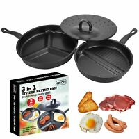 ASAB Divide 3 in 1 Frying Pan Set Easy Clean Non Stick Separate Cooking Space