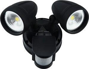 Sensor LED Premium Aluminium Outdoor Garage Security  Flood Twin Spotlight IP54