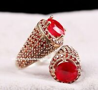 Turkish Handmade LUXURY 925 Silver Red Ruby Stone Ladies Woman Ring Adjustable